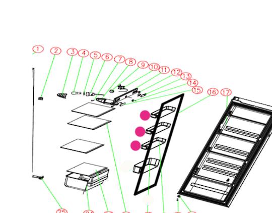 NOUVEAU FRIDGE SMALL shelf on door NFU237,