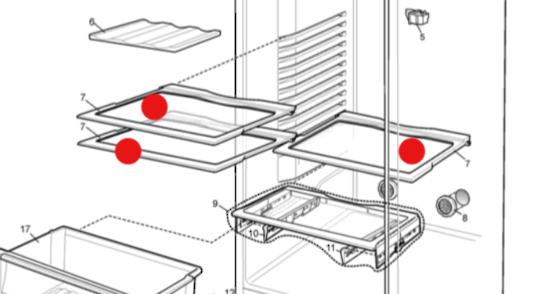 WESTINGHOUSE Fridge  shelf  and mid shelf WBM3700sb,