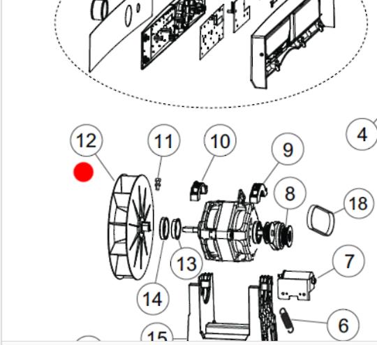 Fisher Paykel Dryer FAN BLADE DE6060P1, DE6060G1, DE5060G1, DE5060M1, DE4060M1,DE7060P1, DE7060G1,