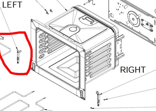 Everdure Oven hinge support left OBEG63, OBES61, OBES62, OBES63,