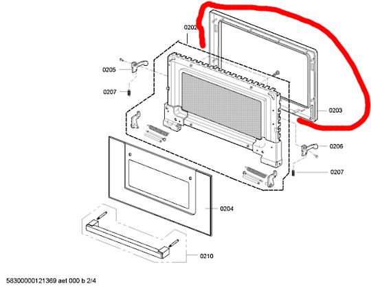 Bosch Oven Door Inner door frame HBC86Q651A  ,
