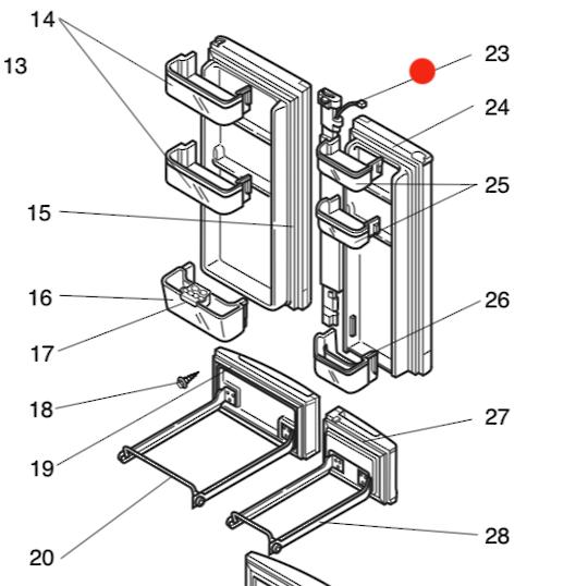 Mitsubishi Fridge Rotational MIDDLE DOOR BOARD HEATER Flapper MRG50JSS, MR-G50JSS, mr-g50j-ss-nz,