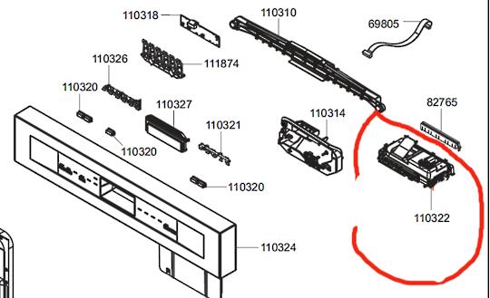 SMEG DISHWASHER POWER CONTROLLER BOARD PCB TIMER DWA6214X,  DWA6214W, DWA6214S