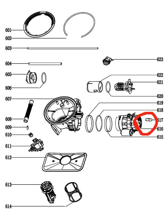 Omega Dishwasher Wash Pump Holder Rubber  ODW707XB, ODW702, ODW704, ODW507, ODW707, ODW717,