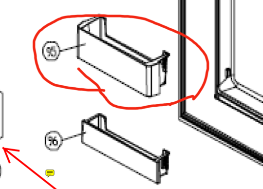 SMEG Fridge door lower shelf  SR610x, SR610XBL, SR610NE, 2ND ONE FROM BOTTOM