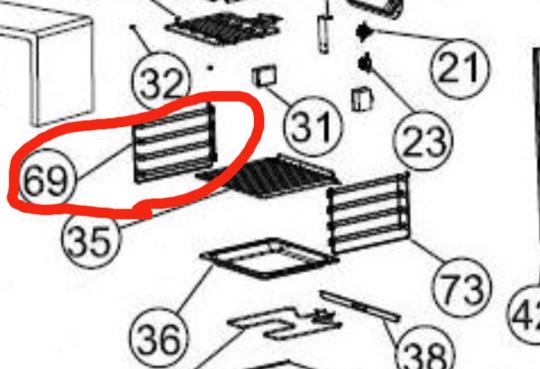 CLASSIQUE oven side rack shelf LEFT SIDE  LARGE OVEN CLDO67SS,