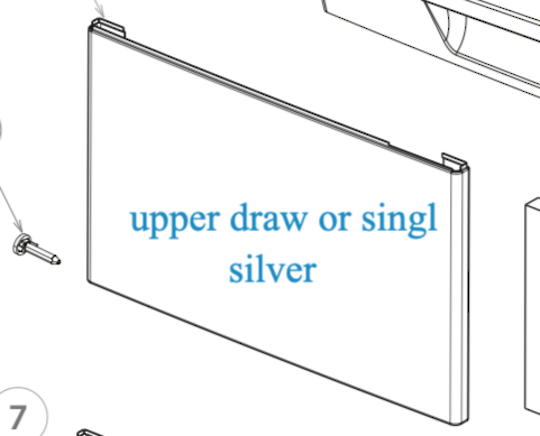 Fisher Paykel Dishdraw Front panel upper draw  or single draw DD60DCX6, Silver