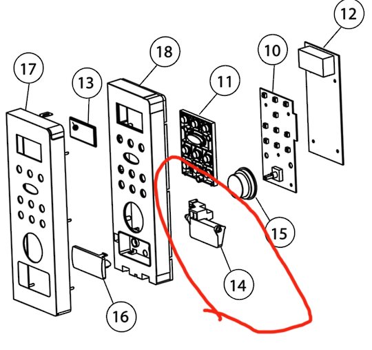 Fisher Paykel Microwave Door HOOK LEAVER DOOR OM25BLCX1,