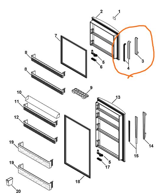 Haire Freezer Door handle HTMR480WH White , htmr360wh, htmr315wh, Htmr575WH,