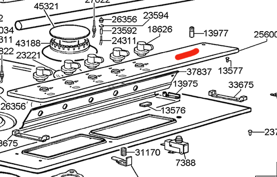 Smeg Cooktop Panel Knob Area SNZ93XGR1, CIR93AXS3, S93AX,