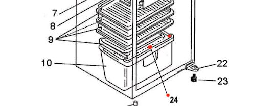 Mitsubishi Fridge Veggie bin  Cover MR-260U, MR-260X, MR-260B, MR-260C, (includes all W & ST variations) MR260G,