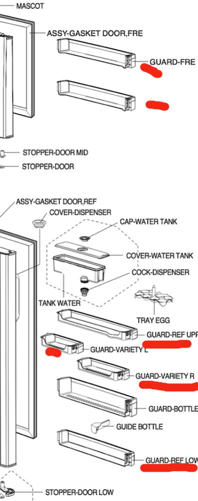 Samsung Fridge Lower and Middle and freezer door Shelf RT62WAMT1/XSA SR519DP,