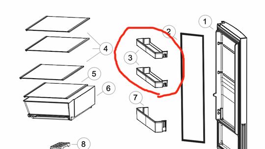 Haier fridge door Med or up shelf HBM340WH1,HBM340SA1,  Hrf340BS2, HRF340BW2, *6866B