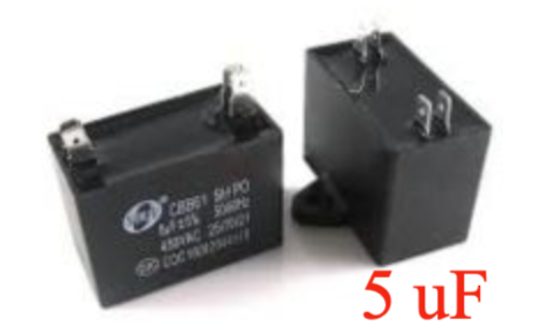 Universal Capacitor 5uf 450vac, cbb61, Double spade terminal , can use one of each side