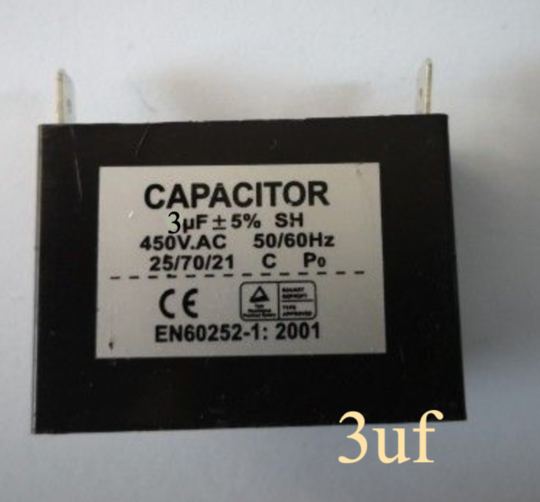 Universal Capacitor 3 uf, 3uf, 450vac, cbb61, Single spade terminal