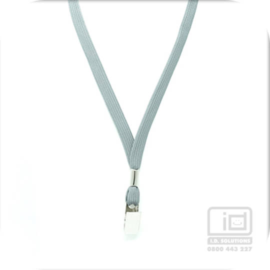 Grey Tube Lan with Bulldog Clip - 12mm wide
