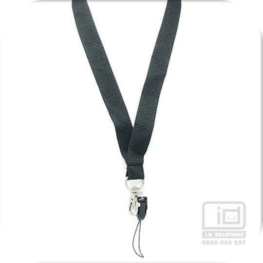 Black Flat Lan, Safety BRKWY,  C-Hook, Mobile Phone fitting - 20mm wide