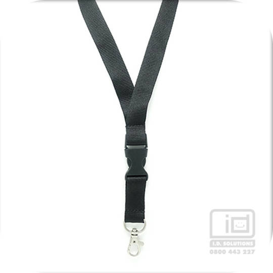Black Flat Lan with Quick Release Buckle C-Hook - 20mm wide
