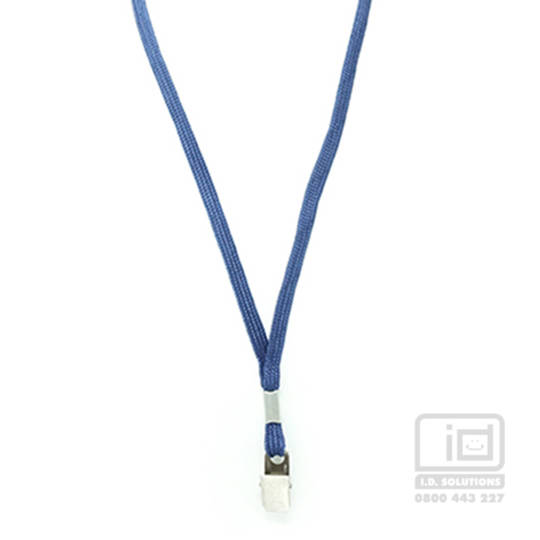 Navy Blue Tube Lan with Bulldog Clip - 8mm wide