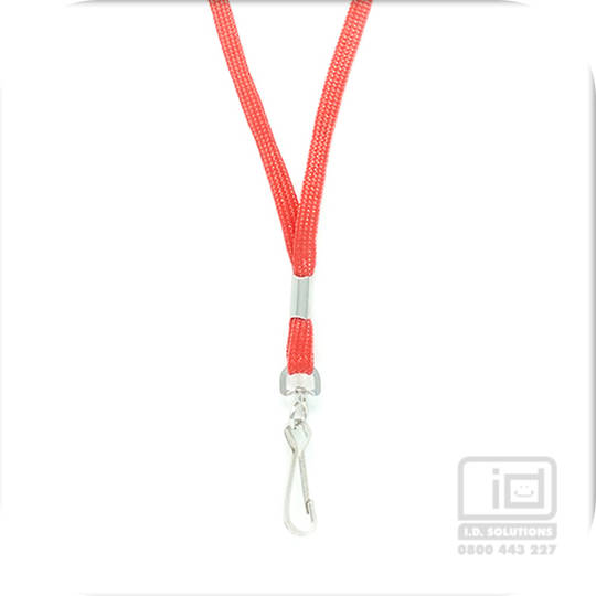 Red Tube Lan with Swivel Hook - 8mm wide