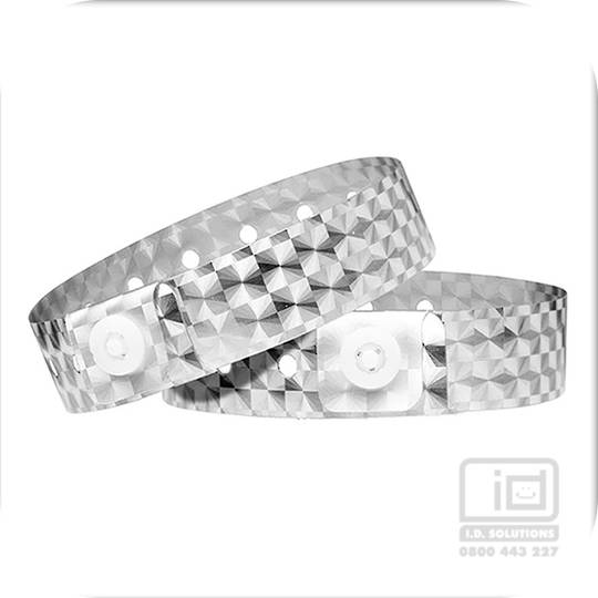 Holographic Silver L shaped wristbands