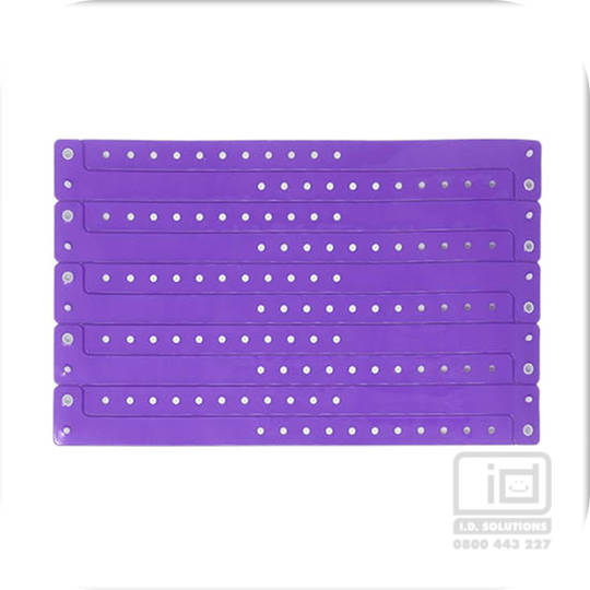 Neon purple vinyl wristbands (5)