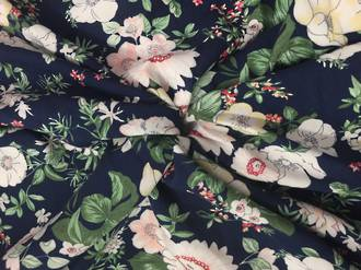 Floral print on navy ground