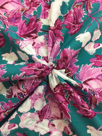 Cotton pink flowers and leves on teal ground