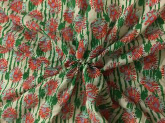Cotton blend flowers on green stripes and cream ground