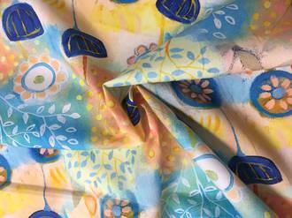 Cotton watercolour flower pattern