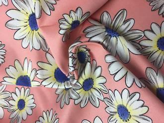 Cotton spandex white daisies on pink BG