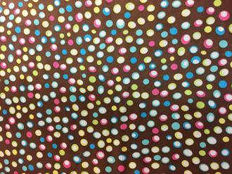 Colourful dots on light brown ground