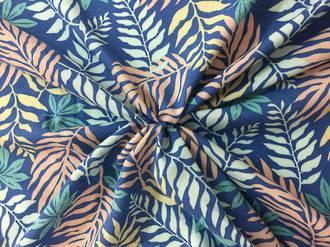 Rayon palm leaves, blue tones on sky blue ground