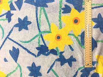 Cotton yellow flower on light blue BG