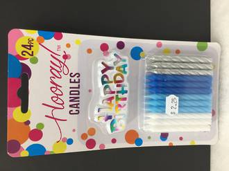 Birthday candles - Blue, white, silver