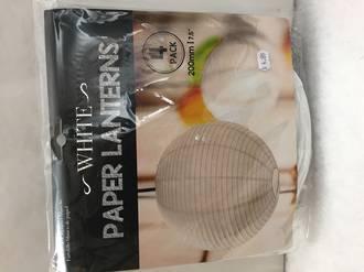 Paper lantern white 4pk