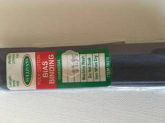 Bias Binding 25mm Charcoal