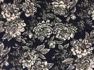 Cotton Spandex Navy/White Floral