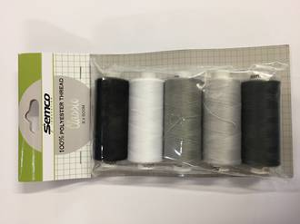 Thread Pack 5 Assorted Black and white