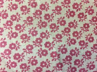 Pink flowers on cream ground