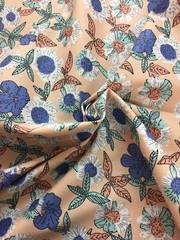 Cotton spandex floral pattern on peach BG