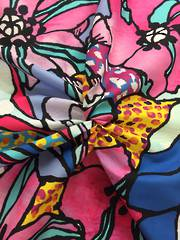 Abstract hibiscus flowers, pink, blue and yellow tones