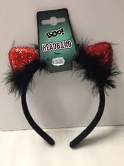 Cat ears headband glitter red