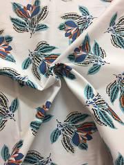 Cotton spandex coloured flowers on white BG