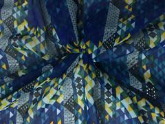 Blue geometric fabric
