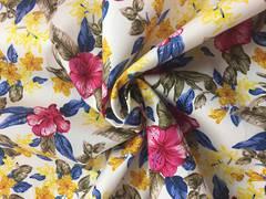 Cotton spandex floral pattern on white BG
