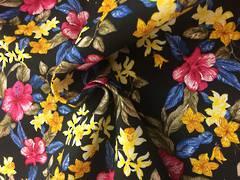 Cotton spandex floral pattern on black BG