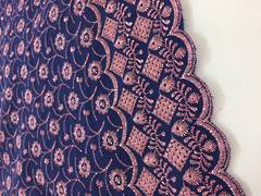 Broderie anglaise - peach and navy