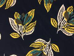 Cotton Spandex Leaves on Navy Blue