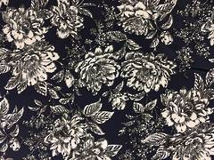 Cotton Spandex Navy/White Floral